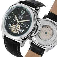 FORSINING Heren Horloges Top Automatische Mechanische Horloge Tourbillon Klok Mannelijke Lederen Militaire Zaken Retro Horloges voor Mannen