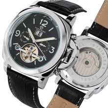 Mechanische Leder Tourbillon Uhr