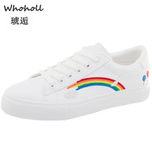Whoholl Brand 2019 Summer White Sneakers Women Canvas Shoes Fashion Vulcanize Casual Zapatillas Mujer Size 39