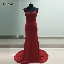 Real Photo 2019 Prom Dress Sweetheart Spaghetti Straps Appliques Burgundy Evening Dresses Long Mermaid Formal Dresses FE39