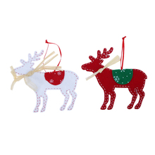 2pcs Christmas Tree Ornaments Non-woven Deer Elk With Ribbon Hanging Decoration New Year Festival Pa