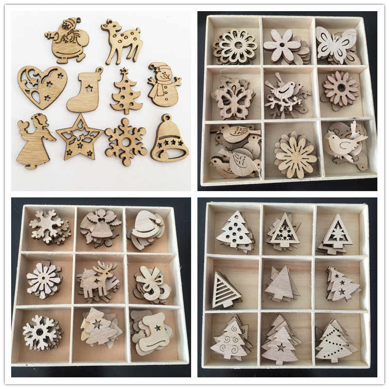 50pcs Christmas Tree Decorations 10 Styles Wooden Hanging Christmas Pendant Drop Ornaments Xmas Navidad Decor 2019 New Year