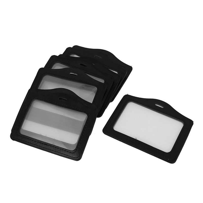 Faux Leather Horizontal Name Tag ID Work Badge Card Holder 10pcs Black