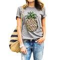 2017 Mujeres de La Manera Camiseta Piña Impreso de Gran Tamaño Casual Camiseta de Verano camisa Gris de Cuello Redondo de Manga Corta Más Tamaño Camiseta H0