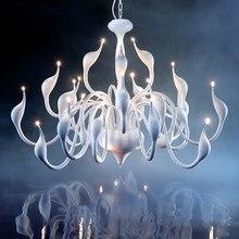 Люстра в виде лебедя, освещение для гостиной, спальни, кухни, крытая лестница, люстра, Потолочный декор, светодиодная люстра в скандинавском стиле