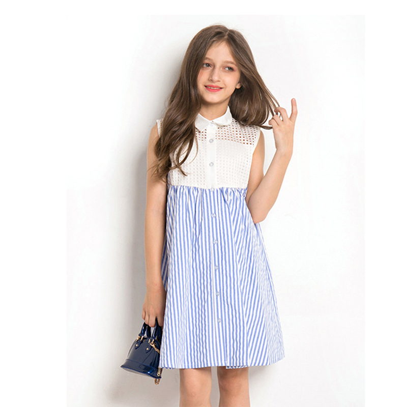 Dress Girl 10 12 years Summer Dress Sleeveless Striped Plaid Princess Party Dress Teenage Girl Elegant ClothingDress Girl 10 12 years Summer Dress Sleeveless Striped Plaid Princess Party Dress Teenage Girl Elegant Clothing