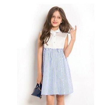e3db385c Vestido de Niña 10 12 años vestido de verano sin mangas a rayas a cuadros  princesa vestido de fiesta chica adolescente ropa elegante