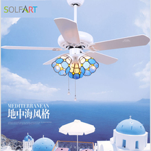 SOLFART ceiling fan crystal chandelier invisible remote control lamps glass celling light slf2013