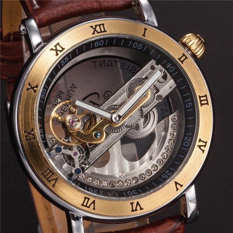 Montres mécaniques automatiques hommes montres-bracelets Design spécial noir/marron Transparent Cool mâle horloge heure relogios masculino cadeaux - 3