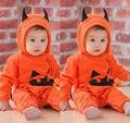 2016 Moda Macacão Roupas Criança Crianças Halloween pumpkin 3D Bonito Recém-nascidos Infantil Bebes Macacão Com Capuz Playsuit Outfit