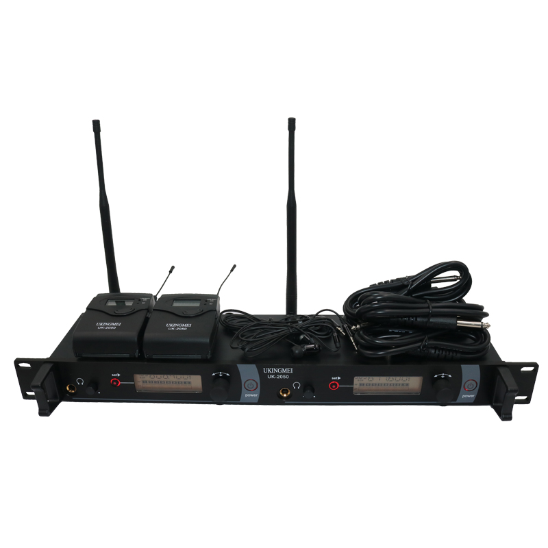 UKINGMEI UK-2050 Wireless in ear monitor system, sr 2050 iem Personal in-ear stage Monitoring 2 Transmitter 2 Receivers 6 pack receivers wireless in ear monitor system professional dual channels transmitter sr 2050 iem