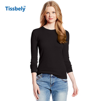 Women S Casual Top Tees Female Solid Pure Color Cotton T Shirt O Neck Long Sleeve