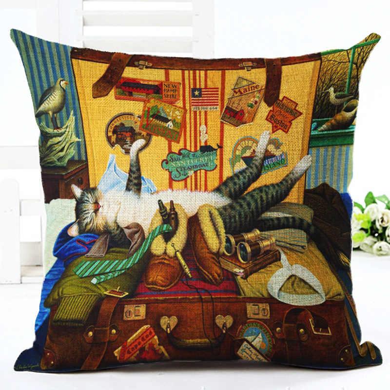 Bonito Pattern Cat Impresso Cotton Linen Decorativa Fronha Fronha de Natal Cadeira Capa de Almofada Decoração de Casa