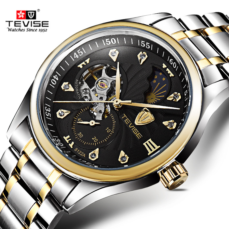 TEVISE Automatic Mechanical Skeleton Self Wind Wristwatch Luxury Silver Gold Stainless Steel Moon Phase Classic Watch Men 8122A tevise men automatic self wind gola stainless steel watches luxury 12 symbolic animals dial mechanical date wristwatches9055g