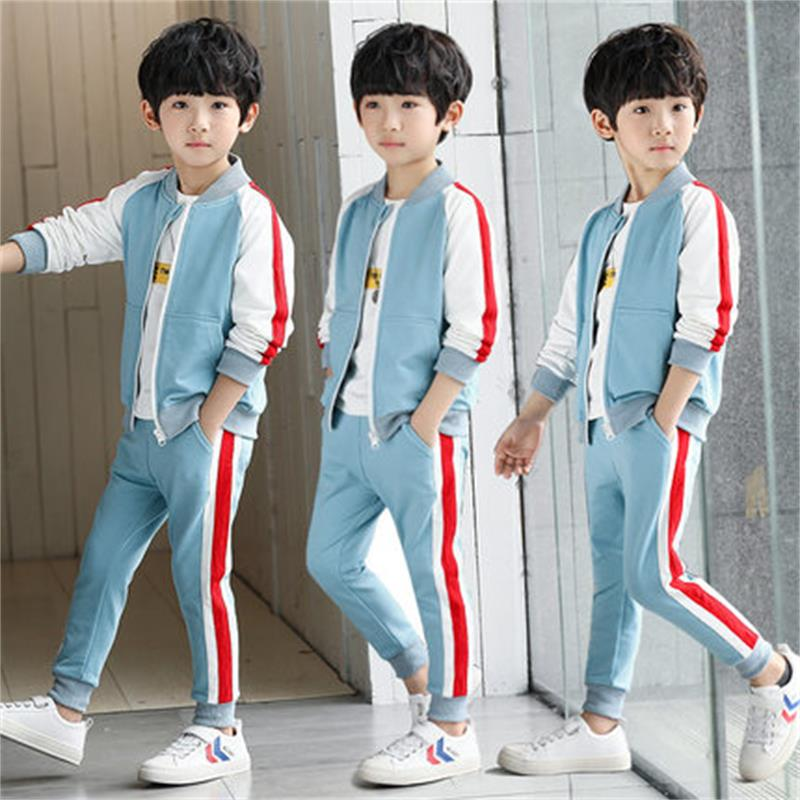 Children's clothing boy spring suit 2018 new children spring and autumn leisure children's sports two-piece Korean wave in the spring of the new han edition cuhk boy sports leisure fleece two piece outfit