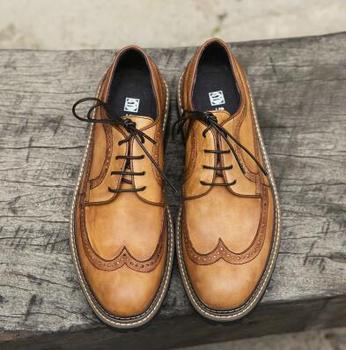 Goodyear handmade leather shoes men's leather Derby shoes wedding shoes business dress shoes pointed oxfords
