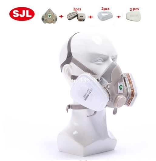 h2s gas mask paint spray pesticide carbon filter mask High quality gray Silicone Double filter box respirator gas mask