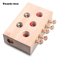 Cat Toys Interactive Catch Mouse Game Cats Toy Pet Supplies Wood Kitten Cat Christmas Wooden Mice & Animal Toys Treat Products