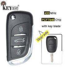 KEYECU 433 mhz Chip de PCF7946 3 Botão Updraded Flip Remoto Fob Chave Do Carro para Renault Kango Primestar Master Vivaro Movano tráfego