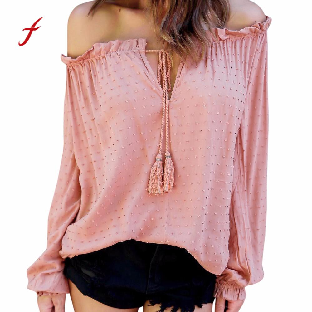 FEITONG Womens t-shirts Sexy Off Shoulder Top Causal Strapless Blusa Dots Shirt Fashion Lantern Long Sleeve Solid Female Tshirt