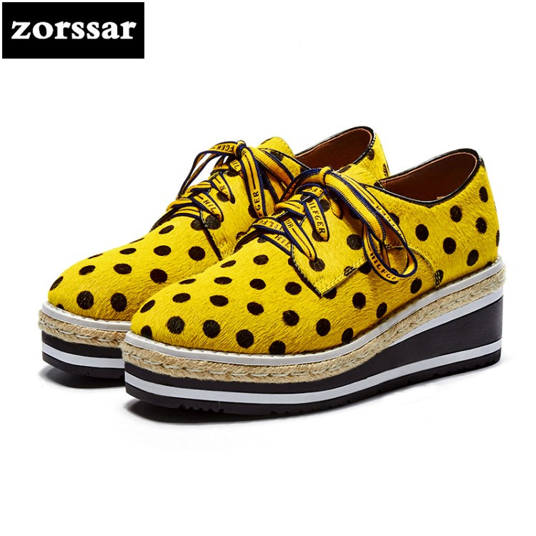 {Zorssar} 2018 Platform Wedges Shoes Woman's High Heels Fashion horse hair Round toe Lace Up Platform Heels Casual Women Creeper zorssar autumn ladies shoes wedges high heels women platform pumps fashion genuine leather horse hair pointed toe womens shoes