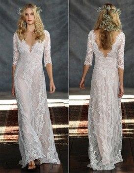 2019 Vintage mariée Boho dentelle robe pour la fête de mariage plage robes de mariée vestidos de noiva Robe de mariage robe de Mariee