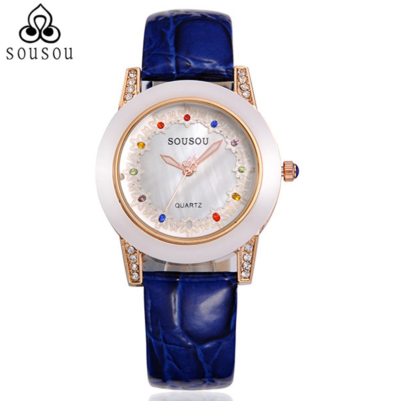 10 Colors Elegant Diamond Genuine Leather Women Dress Watch Ladys Wristwatch Top Brand Rhinestone Watches Black/Blue/Brown