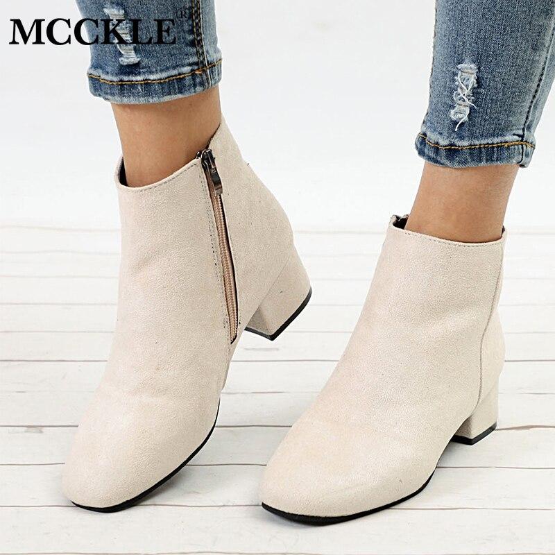 f52c3587d Tobilleras Con Botas Grueso light Mcckle Para Tacón Otoño Calzado Bota  Zapatos Damas Casual Cremallera Mujer ...