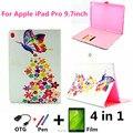 Для Apple iPad Pro 9.7 Корпус с Нарисованными Бабочки PU кожа Стенд Чехол С Картой Слоты + OTG + Film + Стилус в качестве подарок