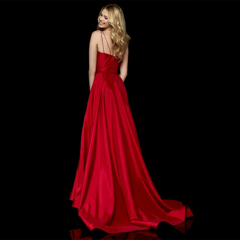 Verngo Red Stain Evening Dress Side Slit Fashion Evening Gown V-Neck Formal Dress Classic Long Dress Party Robe De Soiree