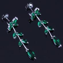 Tantalizing Plant Green Cubic Zirconia 925 Sterling Silver Drop Dangle Earrings For Women V0717