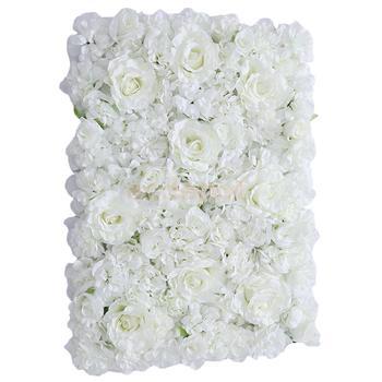 2 pieces Artificial Flower Wall Wedding Venue Flower Pillar Main Road Decor White