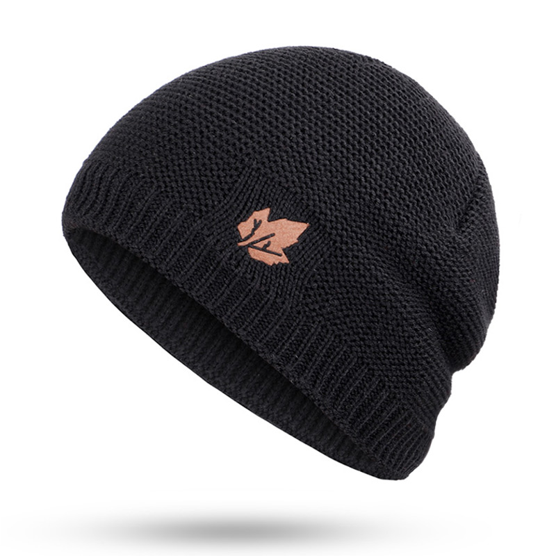 Зимние мужские вязаные шапки, шарф, уличные теплые бархатные унисекс новые модные трендовые брендовые шапки кленовый лист, кожаный Стандартный комплект для мужчин - Цвет: Black B