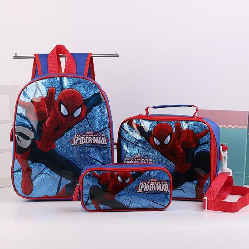 Fashion Kids Girls Cartoon Spiderman Princess Schoolbags Cute Kids Backpacks Children School Bag 3 Piece Set