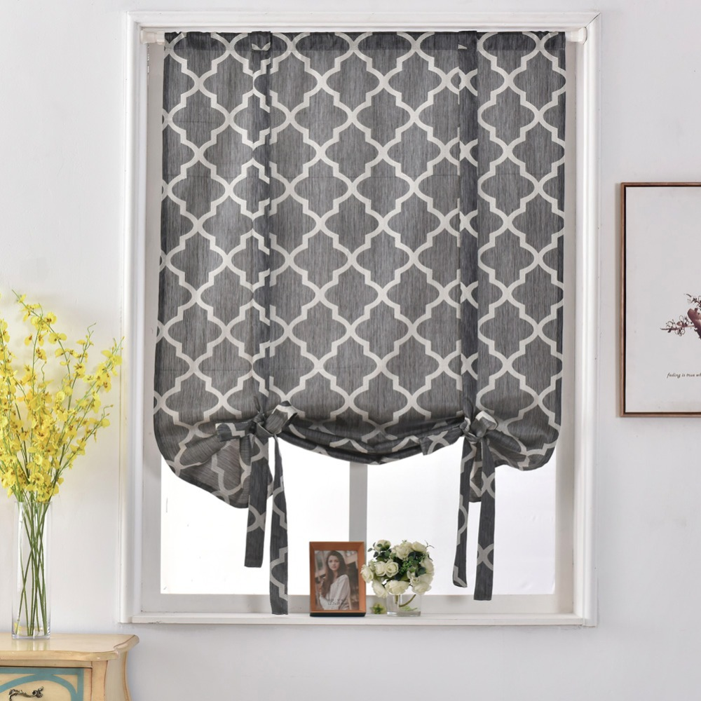 Geometric design jacquard short curtains kitchen roman blinds