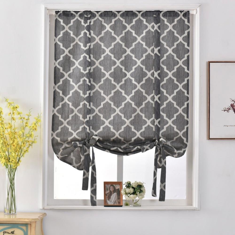 Geometric design jacquard short curtains kitchen roman blinds