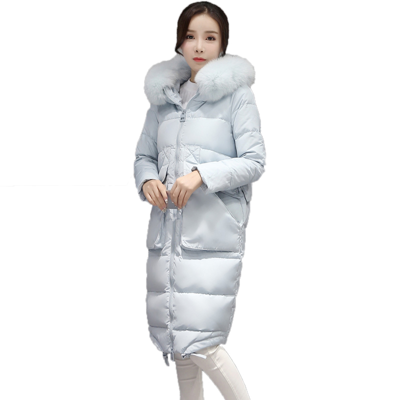 New 2016 Plus size winter women Really fox fur collar slim Long duck down coat hooded keep warm down parkas CE0322 2015 new hot winter thicken warm woman down jacket coat parkas outerwear rabbit fur collar luxury slim long plus size xl high