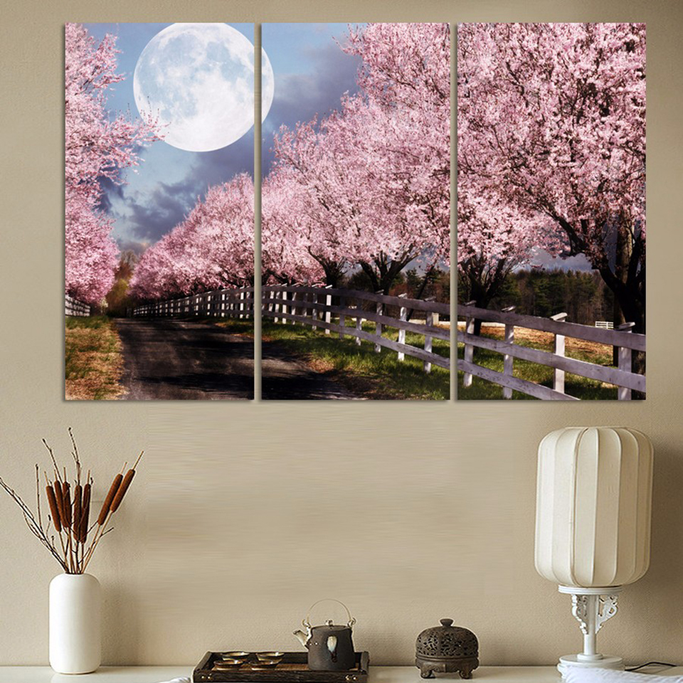HD Printed Modern Canvas Wall Art 3 Pieces Cherry Trees Night Scenery Home Decor Living Room Painting Modular Pictures Framed no frame canvas
