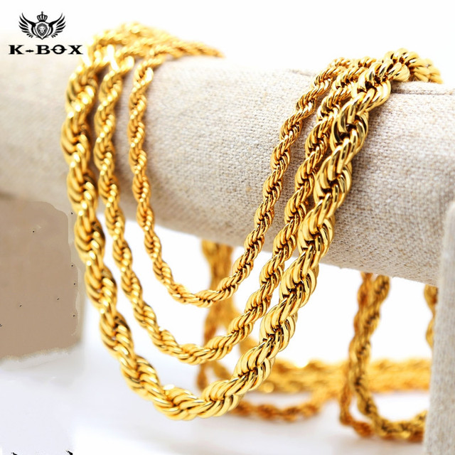 c544e0cb74b Mens 24K Yellow Golden French Rope Chain Necklace 5-10mm 24