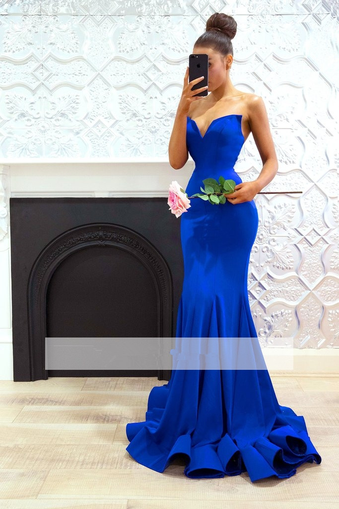 Royal Blue 2019   Prom     Dresses   Mermaid Deep V-neck Plus Size Long   Prom   Gown Evening   Dresses   Evening Gown Robe De Soiree