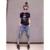 2016 Nueva Moda de Verano de Algodón de Las Mujeres Camisetas de la Historieta de Lentejuelas Corto Camisetas de manga Mujeres Tops Casual Negro Y Blanco XXL B016