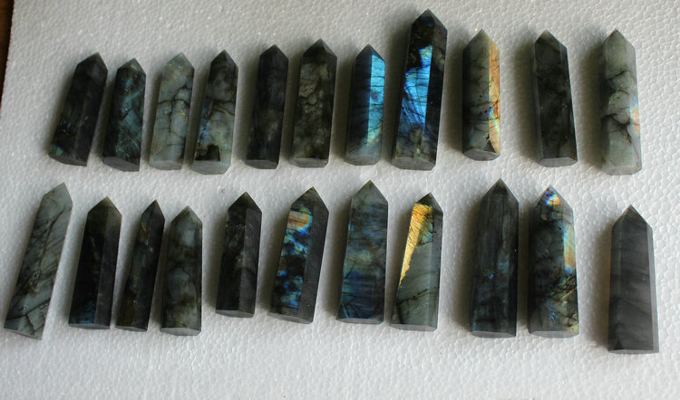 20 Natural Rainbow Labradorite Gem Stone Crystal Points Polished Healing 1KG 2 2LB Wholesales Price Free