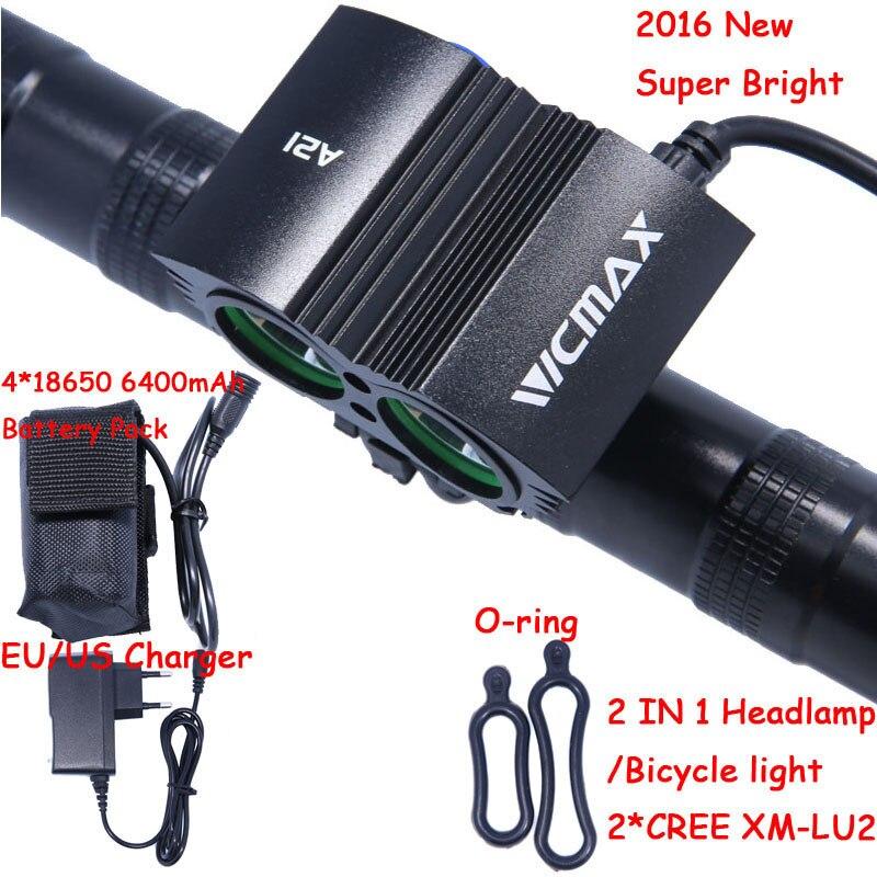 5000 Lumens Waterproof 2* XM-L U2 LED Bicycle Cycling Light Bike Light Lamp+ Battery Pack + Charger