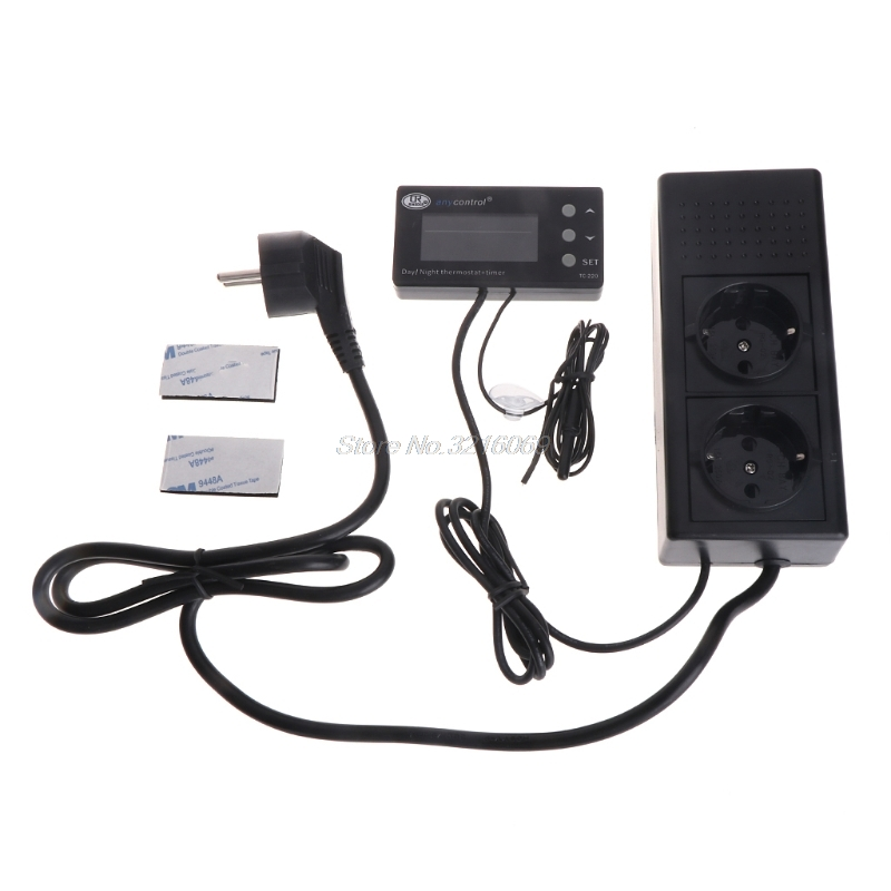 TC-220 0-50C Day night ON OFF Digital Reptile Thermostat with Timer Regulator Animal  Amphibian Temperature Controller