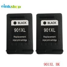 2x 901XL Black Ink Cartridges For HP Officejet 4500 Printer цена