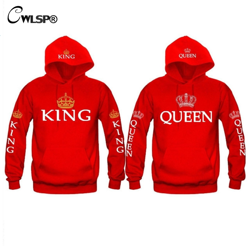 CWLSP König Königin Sweatshirt Hoodies Männer Frauen Casual Crown Print Pullover Tops Front Tasche paar clothessudadera mujer QA1581