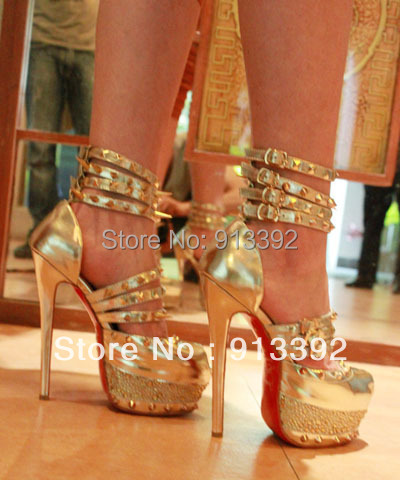 bde6cf992167 Limited Edition Daffodil Fashion Women Bronze Studded Spikes High Heels  Platform Sandals Diamond Pumps Shoes Red Bottom 160mm-in Women s Sandals  from Shoes ...