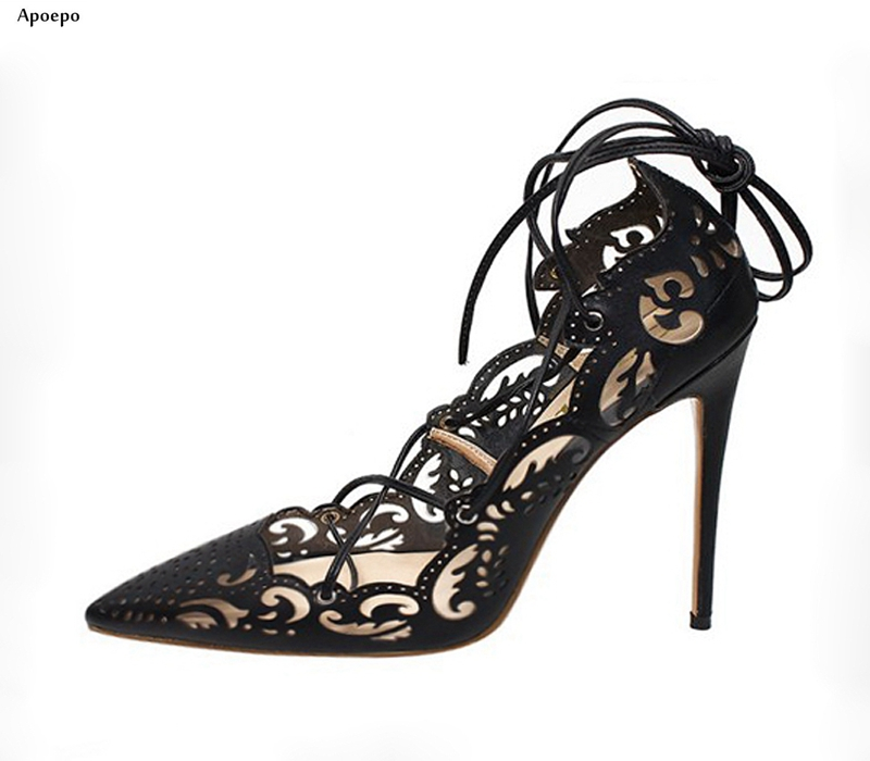 Apoepo Newest Cutouts Laser High Heel Shoes Sexy Pointed Toe Black Leather Lace-up Woman Pumps Thin Heels Dress Shoes White Gold newest patent leather high heel shoes sexy pointed toe woman pumps 2017 leopard printed stiletto heels thin heels dress shoes