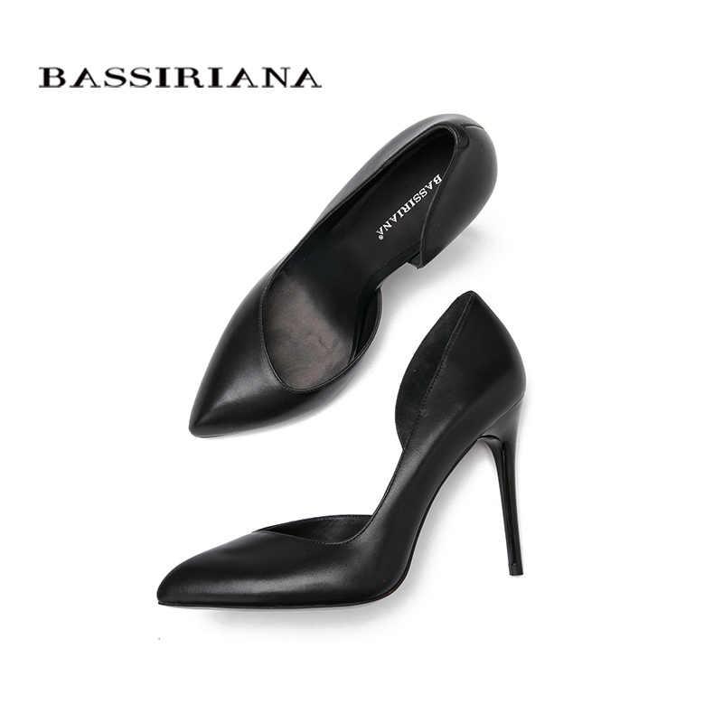עקבים גבוהים משאבות עור זמש טבעי חדש אביב קיץ 2017 אדום שחור 35-40 אופנה בסיסית אישה נעלי משלוח חינם BASSIRIANA