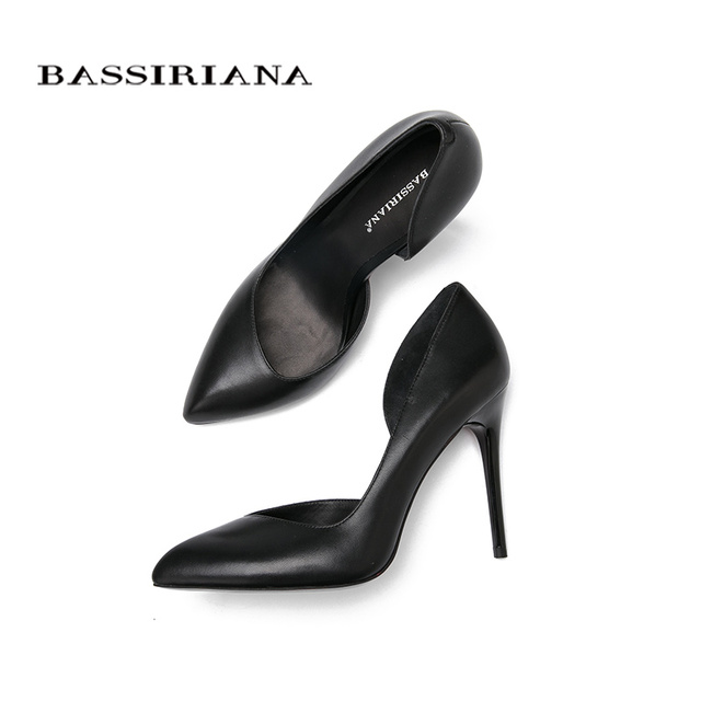 High heels pumps Natural suede leather New spring summer 2017 Red Black 35-40 Fashion Basic shoes woman Free shipping BASSIRIANA 8